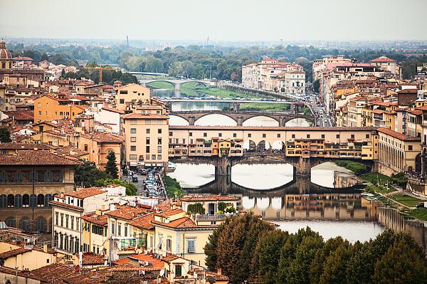 Bridges Of Florence Print by Susan  Schmitz