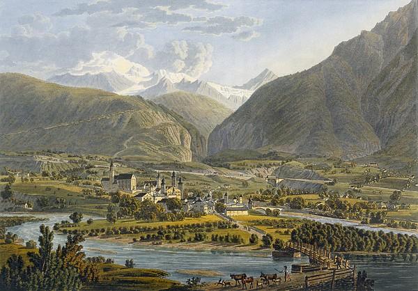 Brig On The Rhone, Bernese Alps Print by Swiss School