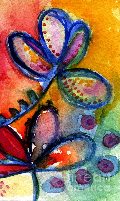 Bright Abstract Flowers Print by Linda Woods
