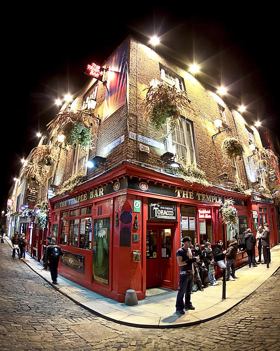Bright Lights Of Temple Bar In Dublin Ireland Print by Mark Tisdale