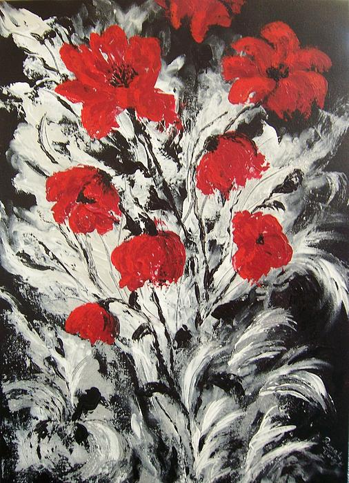 Bright Red Poppies Print by Renate Voigt