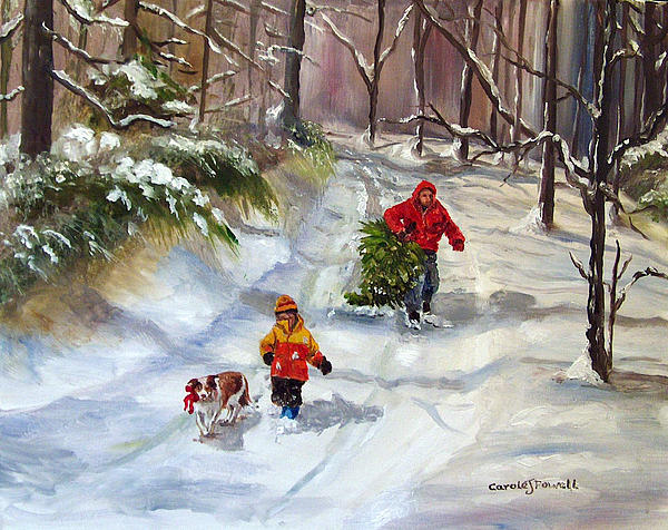 Bringing Home The Christmas Tree Print by Carole Powell