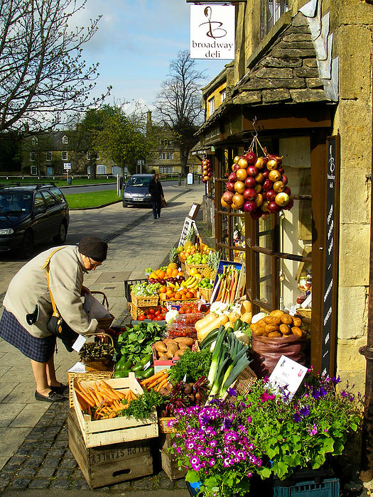 Broadway Deli And Fruit Stand On The Green Broadway Village Cotswold District England Print by Robert Ford