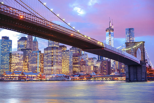 Brooklyn Bridge And New York City Skyscrapers Print by Vivienne Gucwa