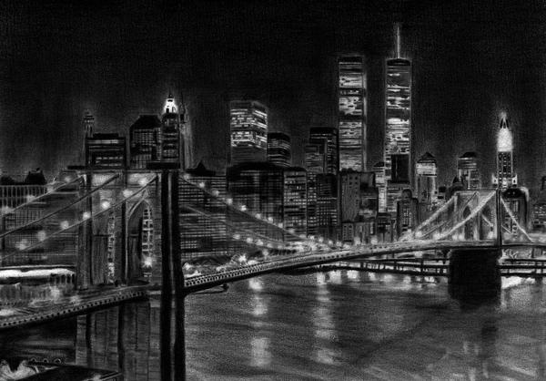 Brooklyn Bridge New York Print by David Rives