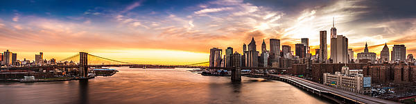 Brooklyn Bridge Panorama At Sunset Print by Mihai Andritoiu