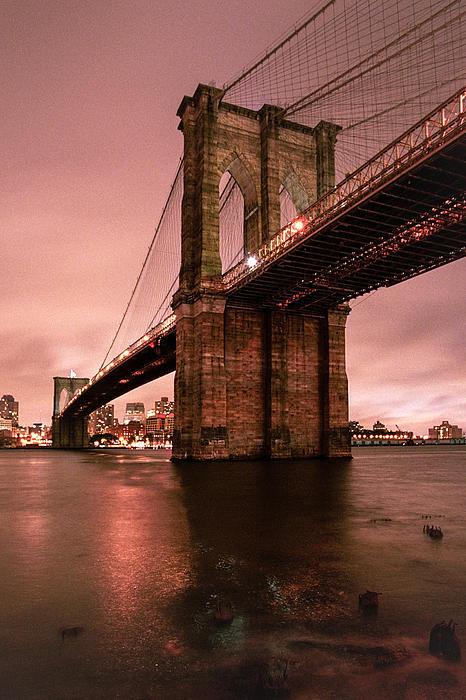 Brooklyn Bridge - Red Morning Print by Gary Heller