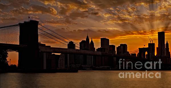 Brooklyn Bridge Sunset Print by Susan Candelario