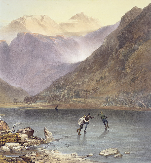 Brothers Water, Detail Of Ice Skaters Print by James Baker Pyne