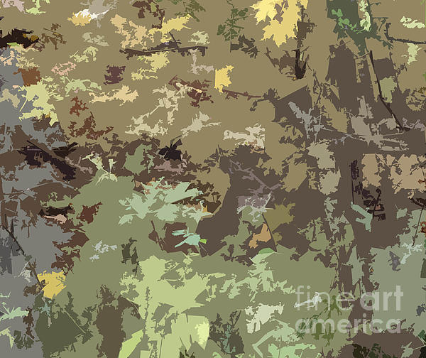 Minding My  Visions - Brown and Green Camouflage Abstract Design Pattern Wood Hunters Camo