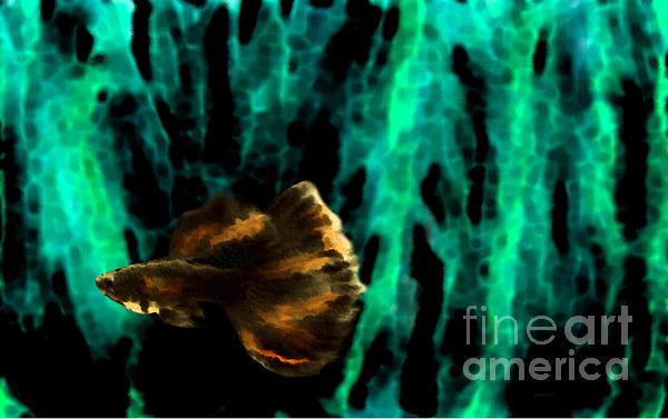 Brown Fish On Green Abstract Print by Mario  Perez