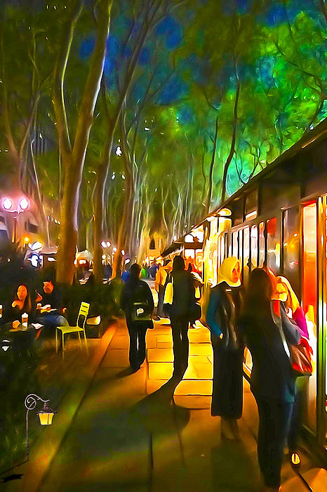 Bryant Park Evening Print by Richard Trahan