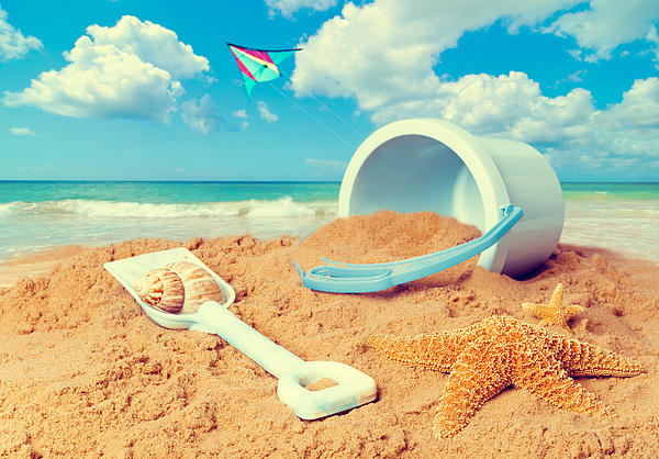 Bucket And Spade On Beach Print by Amanda And Christopher Elwell