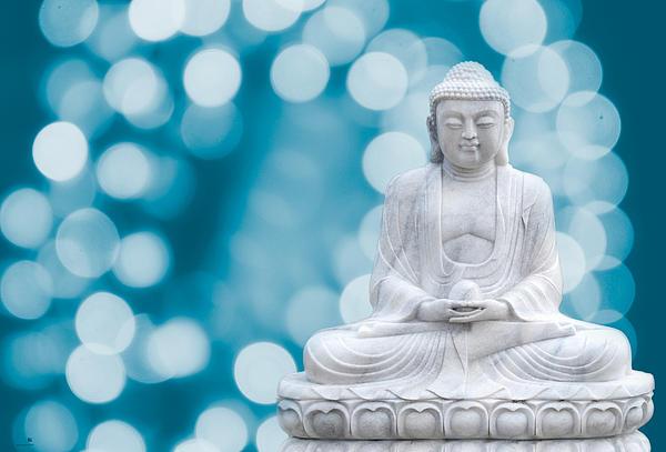 Buddha Enlightenment Blue Print by Hannes Cmarits