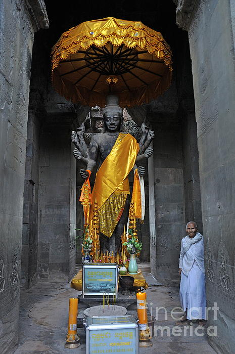 Buddha Statue At Angkor Wat Print by Sami Sarkis