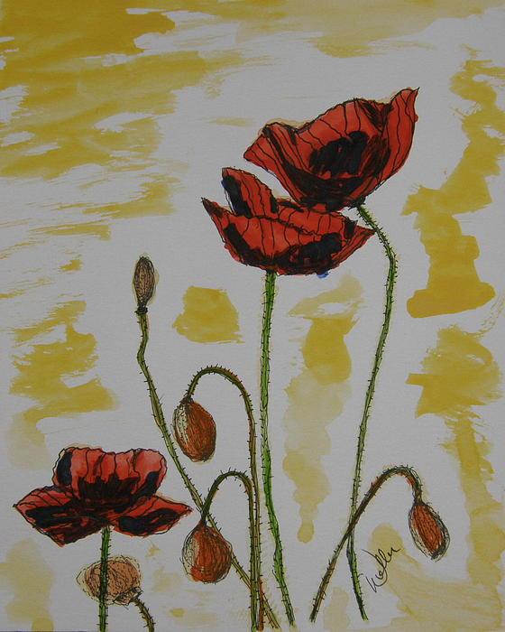 Budding Poppies Print by Marcia Weller-Wenbert