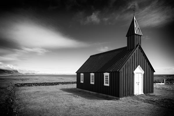 Matthias Hauser - Budir church Iceland black and white