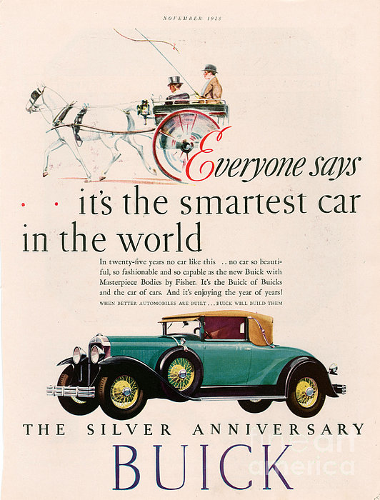 Buick 1928 1920s Usa Cc Cars Horses Print by The Advertising Archives