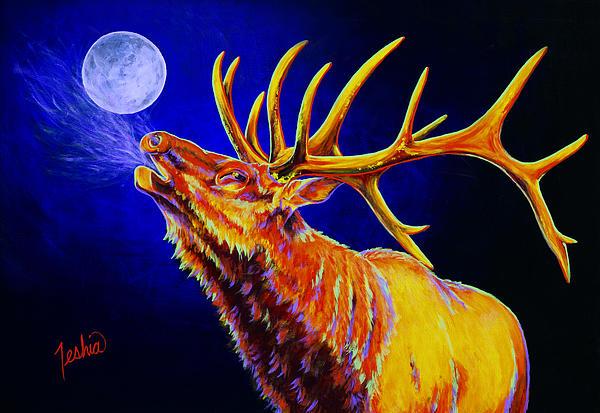 Bull Moon Print by Teshia Art