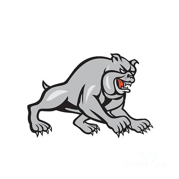 Bulldog Dog Mongrel Prowling Cartoon Print by Aloysius Patrimonio