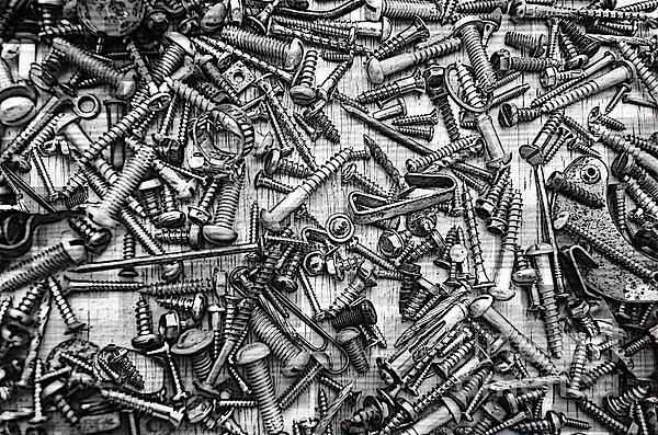 Bunch Of Screws 3- Digital Effect Print by Debbie Portwood