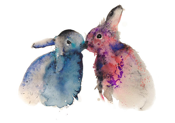 Bunnies In Love Print by Kristina Broza