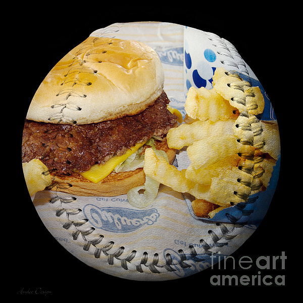 Burger And Fries Baseball Square Print by Andee Design