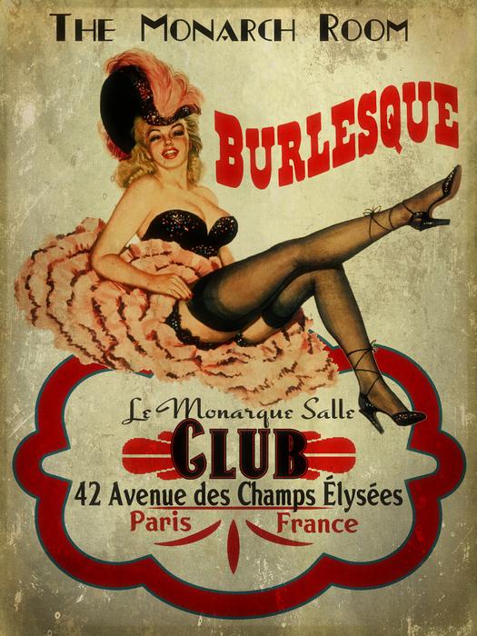 Burlesque Club Print by Cinema Photography