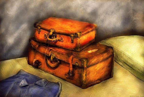 Business Man - Packed Suitcases Print by Mike Savad