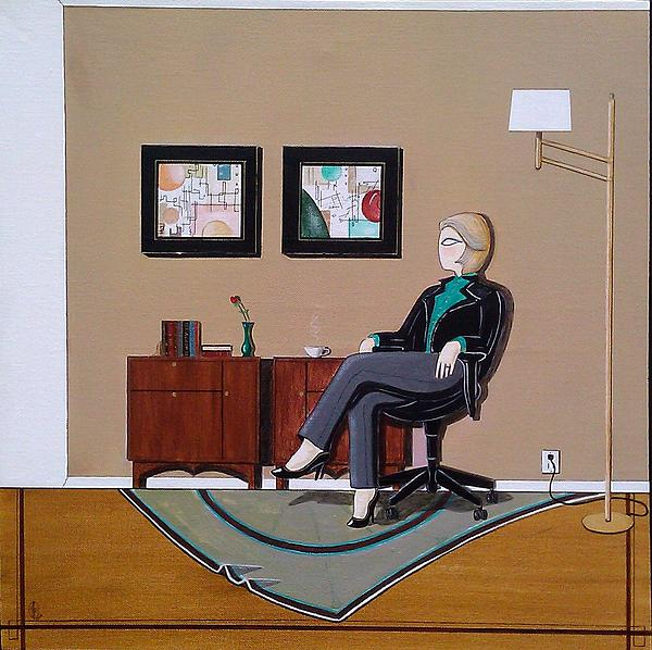 Businesswoman Sitting In Chair Print by John Lyes