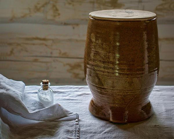 Butter Makers Crock And Salt Print by Nikolyn McDonald