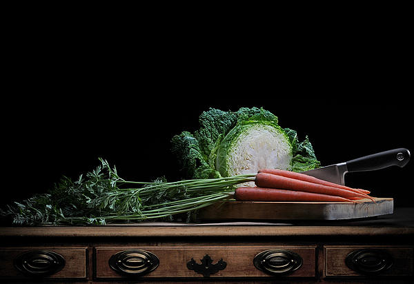 Cabbage And Carrots Print by Krasimir Tolev
