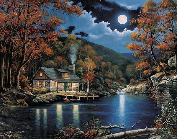 Cabin By The Lake Print by John Zaccheo