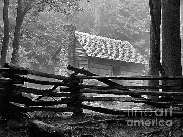 Cabin In The Fog Print by Julie Dant