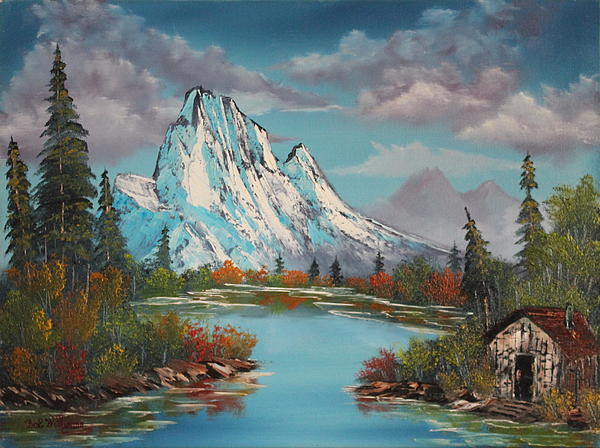Cabin On The Lake Print by Bob Williams