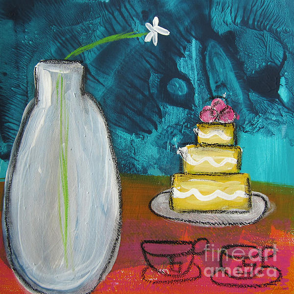 Cake And Tea For Two Print by Linda Woods