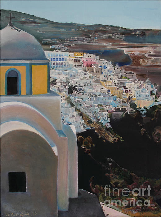 Caldera Church Santorini Print by Debra Chmelina