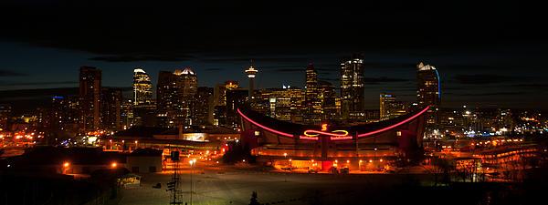 Calgary At Night Print by Guy Whiteley