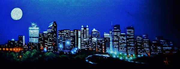 Calgary Canada In Black Light Print by Thomas Kolendra