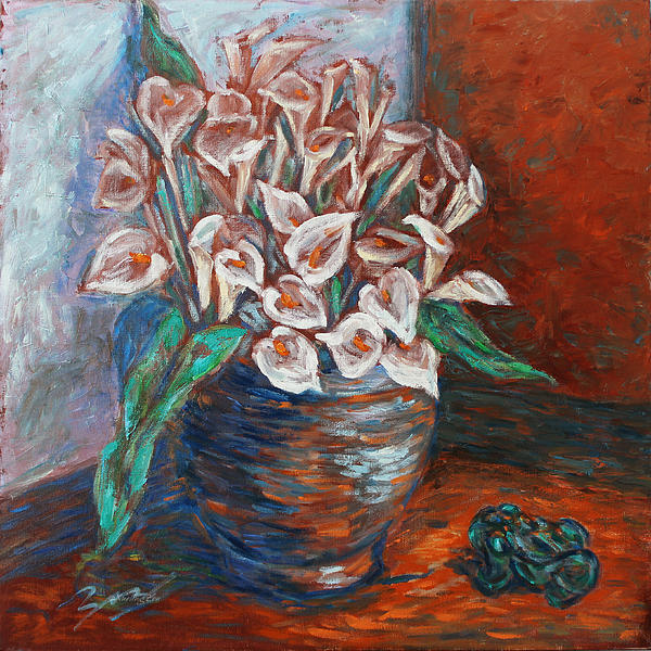 Calla Lilies And Frog Print by Xueling Zou