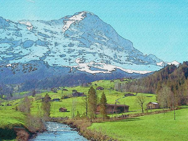 Calm Blue River Watercolor Print by Jennifer Lam