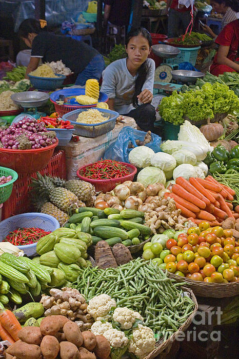 Cambodian Vegetable Market Print by Craig Lovell