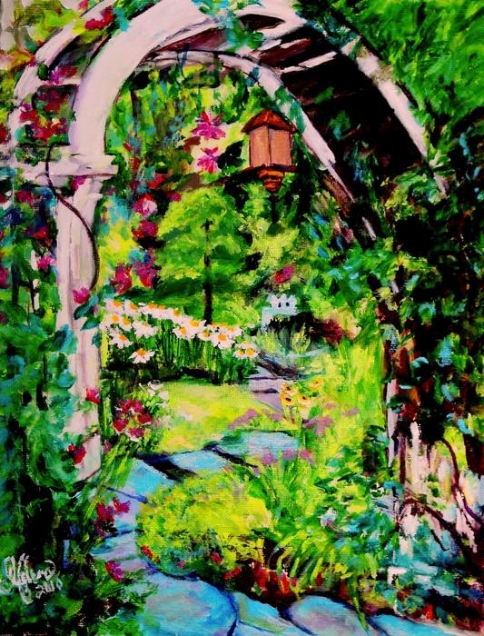 Camille's Secret Cottage Garden  Print by Helena Bebirian