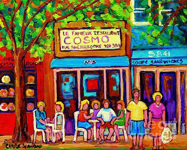 Canadian Artists Montreal Paintings Cosmos Restaurant Sherbrooke Street West Sidewalk Cafe Scene Print by Carole Spandau