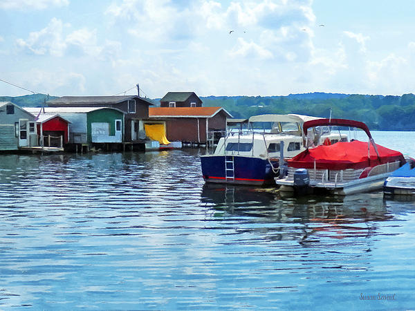 Canandaigua Fishing Shacks Print by Susan Savad