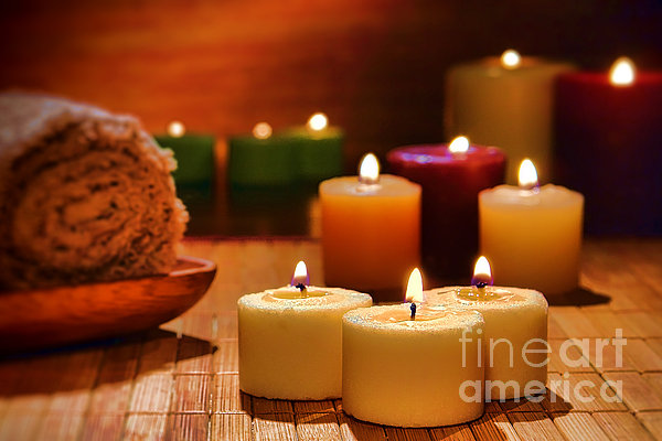 Candles Burning In A Spa  Print by Olivier Le Queinec