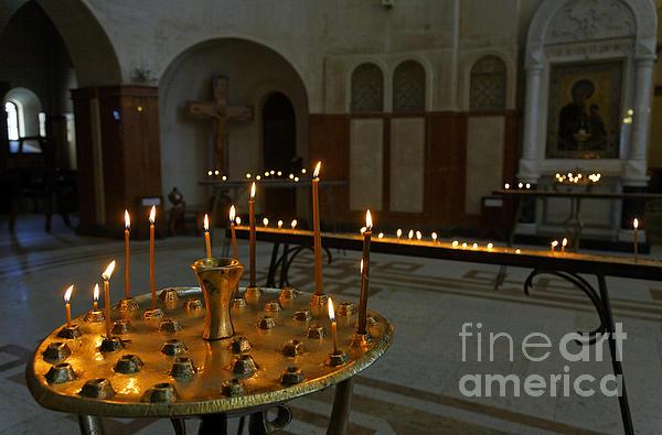 Candles Inside The Tsminda Sameba Cathedral Tbilisi Print by Robert Preston
