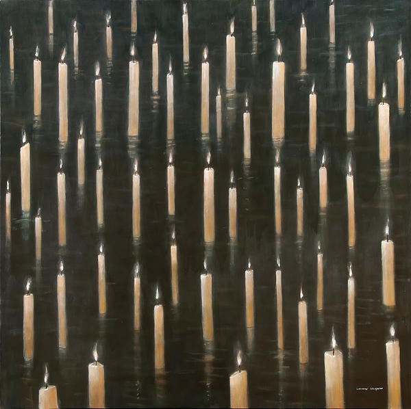 Candles On The Lake Udaipur India Print by Lincoln Seligman