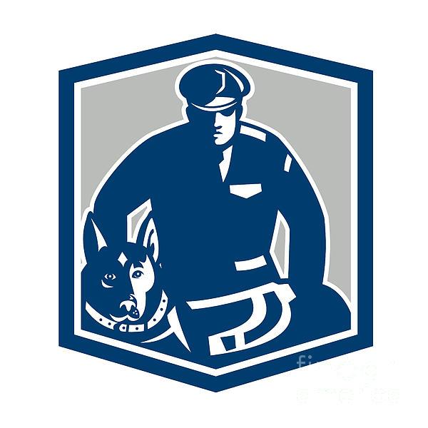 Canine Policeman With Police Dog Retro Print by Aloysius Patrimonio