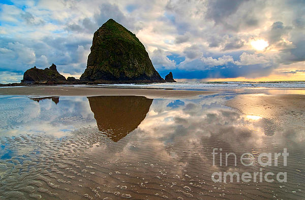 Cannon Beach With Storm Clouds In Oregon Coast Print by Jamie Pham